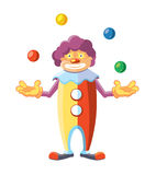 Vector cartoon illustration of cute clown on white background. Stock Image