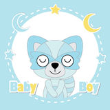 Vector cartoon illustration of cute fox boy sleeps on blue frame suitable for baby shower card design Royalty Free Stock Images