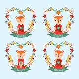 Cute fox girl on flower frames suitable for gift tag set design. Vector cartoon illustration with cute fox girl on flower frames suitable for gift tag set design royalty free illustration