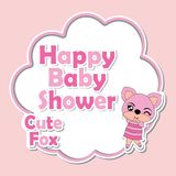 Vector cartoon illustration with cute fox girls on pink frame suitable  Stock Images