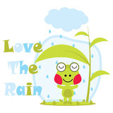 Vector cartoon illustration of cute frog loves the rain   Royalty Free Stock Images
