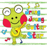 Vector cartoon illustration of cute frog plays guitar  Stock Photo