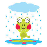 Vector cartoon illustration of cute frog plays on the rain  Royalty Free Stock Photo