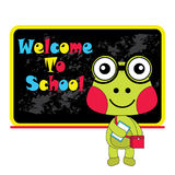 Vector cartoon illustration of cute frog and welcome to school   Royalty Free Stock Photos