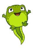 Vector cartoon illustration of cute happy joyful baby tadpole. Vector cartoon illustration of cute happy baby tadpole character jumping for joy, bright green vector illustration