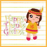 Indian girl on striped background. Vector cartoon illustration with cute Indian girl on striped background suitable for happy thanksgiving card design, thanks Royalty Free Stock Photo