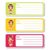 Indian girls on colorful background suitable for kid address label design. Vector cartoon illustration with cute Indian girls on colorful background suitable for royalty free illustration