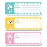 Vector cartoon illustration with cute kawaii pandas on colorful background suitable for kid address label design. Address tag and printable sticker set Stock Images