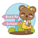 Vector cartoon illustration with cute little bear girl brings book and back to school text suitable for kid t-shirt graphic design Stock Photos