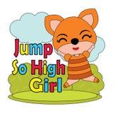 Vector cartoon illustration of cute little fox girl jump so high   Royalty Free Stock Images