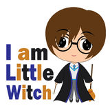 Vector cartoon illustration of cute little witch boy suitable for kid t-shirt graphic design Stock Photography