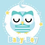 Vector cartoon illustration with cute owl boy on blue moon and stars   Royalty Free Stock Image