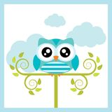 Vector cartoon illustration with cute owl sits on tree. Vector cartoon illustration with cute owl sits on tree branch suitable for kid t-shirt graphic design Stock Image