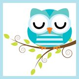 Vector cartoon illustration with cute owl sleep on tree branch. Suitable for kid t-shirt graphic design, backdrop and wallpaper Stock Photo