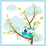Vector cartoon illustration with cute owl on tree branch and cloud background. Suitable for kid t-shirt graphic design, backdrop and wallpaper Royalty Free Stock Photography