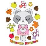Vector cartoon illustration with cute raccoon girl, apple, mushroom  Stock Photography