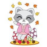Vector cartoon illustration with cute raccoon girl sits on mushroom  Royalty Free Stock Photos