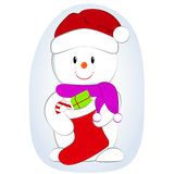 Vector cartoon illustration of a cute snowman with gifts in sock. New Year illustration. Vector cartoon illustration of a cute snowman with gifts in sock New Stock Photos