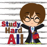 Vector cartoon illustration of cute witch boy study hard suitable for kid t-shirt graphic design Stock Image
