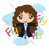 Vector cartoon illustration with cute witch Royalty Free Stock Photos