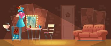 Vector cartoon interior of empty dressing room. Vector cartoon illustration of empty dressing room, wardrobe with furniture, dresser with makeup mirror, stand vector illustration