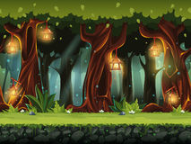 Vector cartoon illustration of the fairy forest. For the game UI. . For print, create videos or web graphic design, user interface, card, poster Stock Images