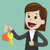 Businesswoman hand buying a house. Realtors hand giving keys to client. Real Estate Concept stock illustration
