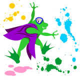 Vector Cartoon Illustration of Frog with Vest Painting Stock Photos