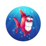 Vector cartoon illustration funny red fish stock illustration