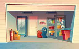 Vector cartoon illustration of garage interior. Storage room with auto equipment, tires, jerrican, metal racks, tools, boxes, stuff. Private building for car vector illustration