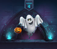 Vector cartoon illustration ghost with pumpkin Royalty Free Stock Image