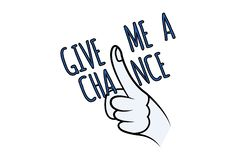 Vector Cartoon Illustration Of Give Me A Chance. Vector cartoon illustration of hand Finger sign. Lettering give me a chance. Isolated on white background stock illustration