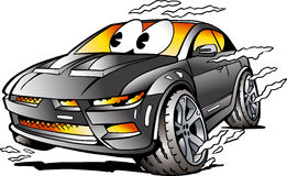 Vector Cartoon illustration of a grey Sports Car Mascot racing in full speed Royalty Free Stock Images