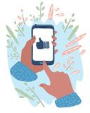 Hand holding mobile phone. Thumb up on screen. stock illustration