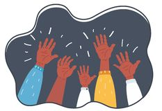 Hands Raised Up Symbol of Freedom Choice, Fun. royalty free illustration