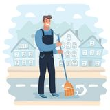 Janitor sweeping the street Stock Image