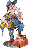 Vector cartoon illustration of a handyman Royalty Free Stock Photography
