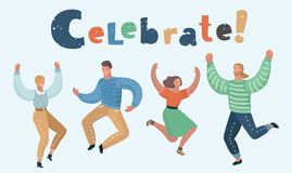 Happy group of people jumping. Vector cartoon illustration of Happy group of people jumping on a white background. The concept of friendship, healthy lifestyle vector illustration