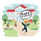 Welcome back to school! Cute school kids. Vector cartoon illustration of happy smart boy jump, school building behind. Welcome back to school! Cute school kids royalty free illustration