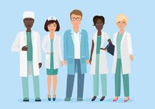 Vector Cartoon illustration of Hospital medical staff team, doctors and nurses characters. Medical concept. Stock Photography