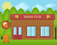 Vector cartoon illustration. Irish beer pub building concept. Stock Photo