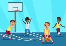 Vector cartoon Illustration of kids playing basketball in schoool. Vector cartoon Illustration of kids playing basketball in schoool royalty free illustration