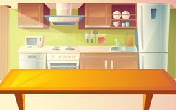 Vector cartoon illustration of kitchen interior. Vector cartoon illustration of cozy modern kitchen with dinner table and household appliances, fridge, stove Stock Image