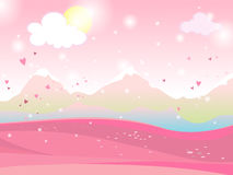 Vector cartoon illustration of a landscape. Landscape with hearts Valentine`s Day. For print,  or web graphic design, user interface, card, poster Stock Photo