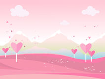 Vector cartoon illustration of a landscape. Landscape with hearts Valentine`s Day. For print,  or web graphic design, user interface, card, poster Stock Photos