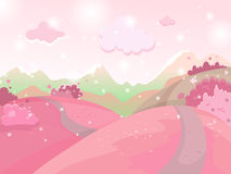Vector cartoon illustration of a landscape. Landscape with hearts Valentine`s Day. For print,  or web graphic design, user interface, card, poster Royalty Free Stock Image