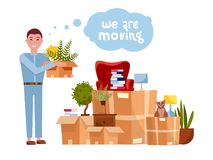 Vector cartoon illustration of loader mover man carrying box. Pile of stacked cardboard boxes with furniture. Concept for home stock illustration