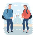 Lost tourist looking at city map on a trip. Looking for directions. stock illustration