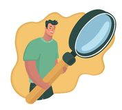 detective with magnifying glass royalty free illustration