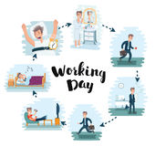 Vector cartoon illustration of man working day in office Royalty Free Stock Photography